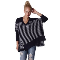 Navy Oversized Striped Sweater