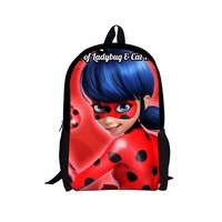 FORUDESIGNS Anime Primary Backpack Miraculous Ladybug Backpack for Teenage Girls Adrien Marinette School Bagpack Bolsa Feminina