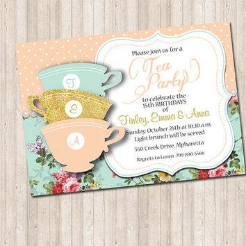 Tea Cup Party / Shower Invitation with gold glitter and pearls