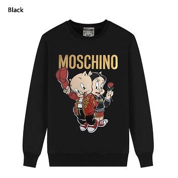 Moschino Autumn And Winter New Fashion Letter Pig Print Women Men Hooded Long Sleeve Sweater Black