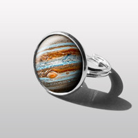 Planet Jupiter Adjustable Ring, Nebula RING  star Jewelry Galaxy Ring. Gift for Women (Mum) and Girls (sister).