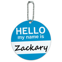 Zackary Hello My Name Is Round ID Card Luggage Tag