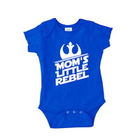 Mom's Little Rebel onepiece newborn body suit crawler romper t shirt tshirt 2t 3t baby star wars alliance child children snap bottom onesi