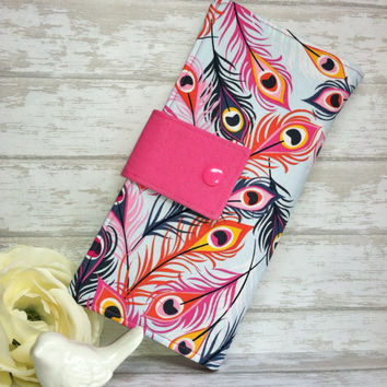 Fun feathers wallet, bright colored womens wallet, handmade fabric wallet, bifold clutch wallet, credit card bill wallet, slim money wallet