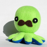Octopus plushie w/ mustache  SMALL Octoplushie in by jaynedanger
