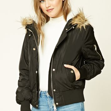 Padded Faux Fur-Lined Jacket