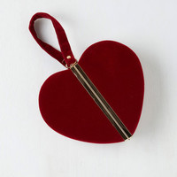 Mod Keen of Hearts Clutch in Red by ModCloth