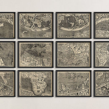 Antique Map of the World (1507) by Martin Waldseemuller - Set of 12 Prints