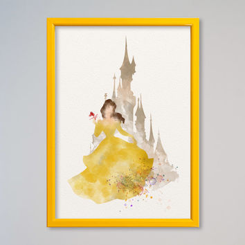Belle Princess FRAMED Watercolor Belle Castle print Disney Watercolor Beauty and the Beast watercolor poster Kids art Wall art Nursery