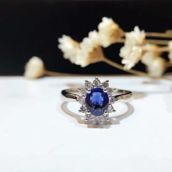 18K Gold 0.703ct Natural Sapphire Women Ring with 0.209ct Diamond Setting 2016 New Fine Jewelry Wedding Band Engagement