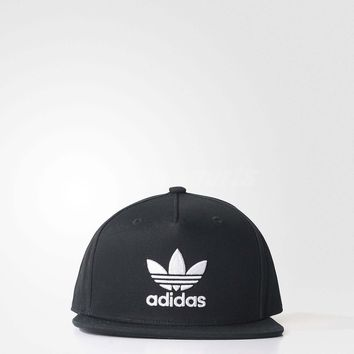 adidas Unisex Trefoil Snap-Back Cap Hat Black White Baseball Original BK7324