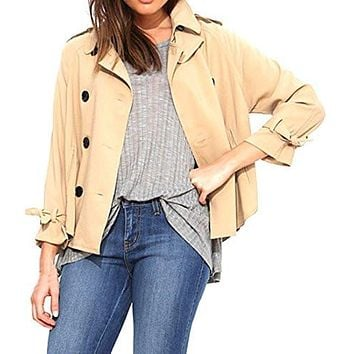 Abetteric Womens Casual Khaki Basic Button-down Trenchcoats