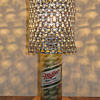 "Vintage Miller High Life ""The Champagne of Beers"" Beer Can Lamp With Pull Tab Lampshade - The Mancave Essential"