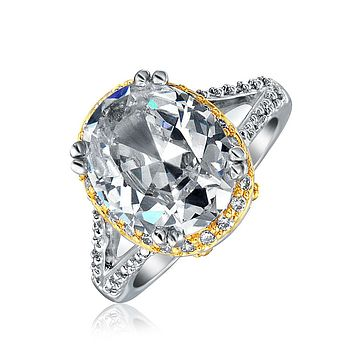 2 Tone 5CT Oval AA CZ Engagement Ring Band Silver 14K Gold Plate Brass
