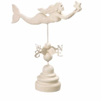 Nautical Weather Vane - Swimming Mermaid with Star Wall Decor - 24-in