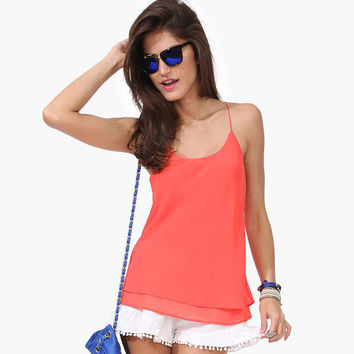 Orange Halter Layered Racer Back Cami Shiffon Top