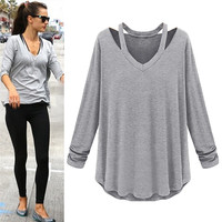New Spring Autumn Style Thin Section Women's Long-sleeved O-Neck Shirt Blouses Casual Tide Bottoming Shirt