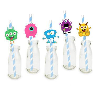 Mini Monster Party Straw |Cute Monster Party | Monster Theme Birthday| Boys Birthday Party |Monster Paper Straws |Monster Party Supply