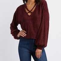 Strappy Caged Pullover Skimmer Top | Charlotte Russe