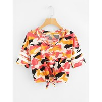Cut Out Neck Varsity Striped Knot Front Tee Multicolor