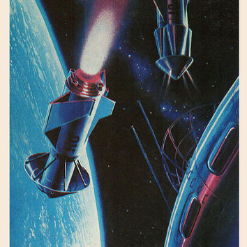 On Orbital Intersection (Artist A. Sokolov) Vintage Postcard - Printed in the USSR, «The Fine Arts», Moscow, 1980