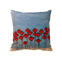 Sea of Poppies Throw Pillow from Zazzle.com