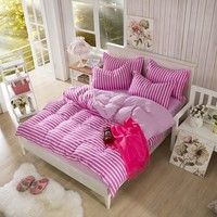Cotton Blend Pink Color Stripe Print Pattern Design, Duvet Cover Sets, Full Queen Size