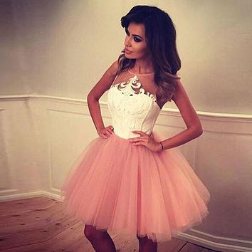 Blush Pink 2017 Mini 8th Grade Prom Dresses Lace Tulle Homecoming Dress Vestidos De Duinceanera Sexy Short Cocktail Dress