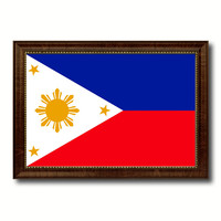 Philippines Country Flag Canvas Print with Brown Picture Frame Home Decor Gifts Wall Art Decoration Gift Ideas