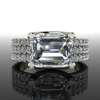 Forever Brilliant Moissanite Emerald Cut Engagement Ring 4.23 CTW