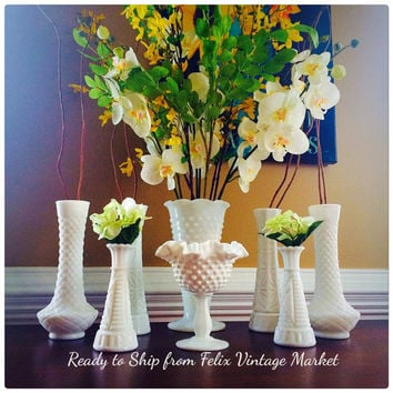 Milk Glass White Vases and Compote Collection Set of 8, Honored Occassion or Wedding Table Decor, Felix Vintage Market