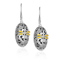 18K Yellow Gold  Sterling Silver Diamond and Dragonfly Oval Earrings