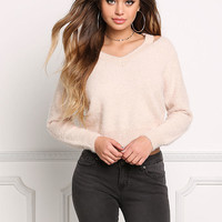 Blush Fuzzy Knit Cold Shoulder Sweater Top