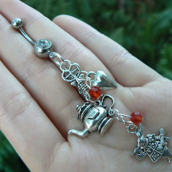 Alice in wonderland inspired belly ring white rabbit teapot heart key in fantasy beach boho gypsy hippie belly dancer and hipster style
