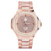 14k Rose Gold Finish Iced Out Square Face Men's Watch
