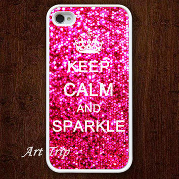 iPhone 4 Case, iphone 4s case -- Keep Calm and sparkle iPhone 4 Case, iphone case, graphic iphone 4 case