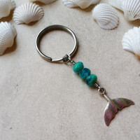 Blue Whale Tail Keychain with Stainless Steel Key Ring, Beach Gifts, Beaded Sea Life Ocean Key Chain, Charm Keychain