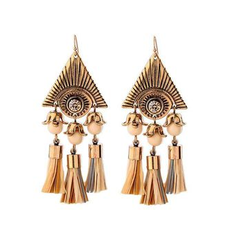 Antique Gold Color Egyptian Pyramids Retro Earrings Statement Jewelry