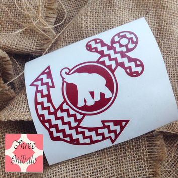 Alabama anchor Roll Tide decal State salt life tide life Sticker Car Decal Monogram Decal Monogram bama sticker Gift Monogram sticker anchor