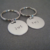 Stamped Keychains, Couples Keychains, Circle Keychains, Personalized Keychains, Initials Keychains, Wedding Gift, Free US Shipping