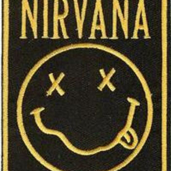 Nirvana Iron-On Patch Rectangle Smiley Face Logo