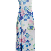 White and Blue Floral Open Back Maxi Dress