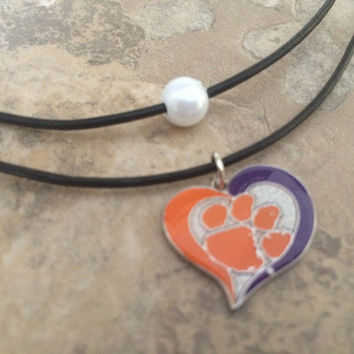 CLEMSON TIGERS Necklace, CLEMSON Necklace, Tigers Necklace, Brown Leather Double Clemson Necklace, Pearl Necklace
