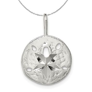 Sterling Silver 15mm Diamond Cut Sand Dollar Necklace