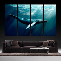Whale Ocean Water Underwater Diving Art 4 Panel Canvas Print, Whale Living Room Wall Art, Whale Canvas Gallery Wrap, Fine Art Print