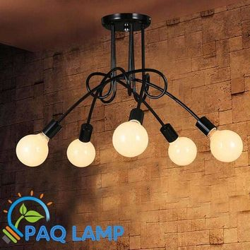 Vintage retro lighting chandeliers lamp iron distorted pipe ceiling Restaurant bar Simple LED light fixture