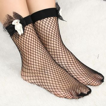 1Pair Fashion Punk Breathable Little Bear Ruffle Mesh Lace Fishnet Women Socks Ankle Sexy Spring Summer