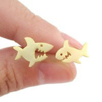Cute Shark Cartoon Shaped Sea Creatures Stud Earrings in Gold | Animal Jewelry