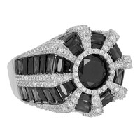 Mens Custom Design Ring Sterling Silver Black Simulated Diamonds