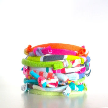 Recycled Fiber Bracelet Neon Multicolor Stripes Prints Knotty Bits Upcycled Jersey Eco Friendly Cuff Stacking Bracelets